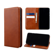 Mobile phone case for iPhone X genuine leather wallet stand cover