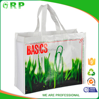 Popular design white green pp non woven laminated tote shopping bag