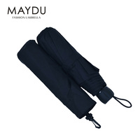 MAYDU high quality wholesale 3folds handle-open custom rain light weight black blue cheap umbrella with bag for business
