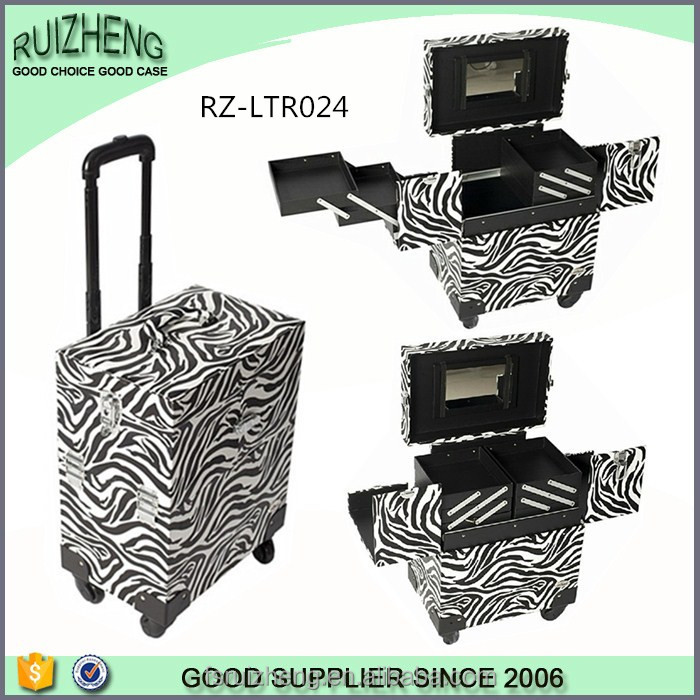 Lady leather travel trolley beauty makeup case