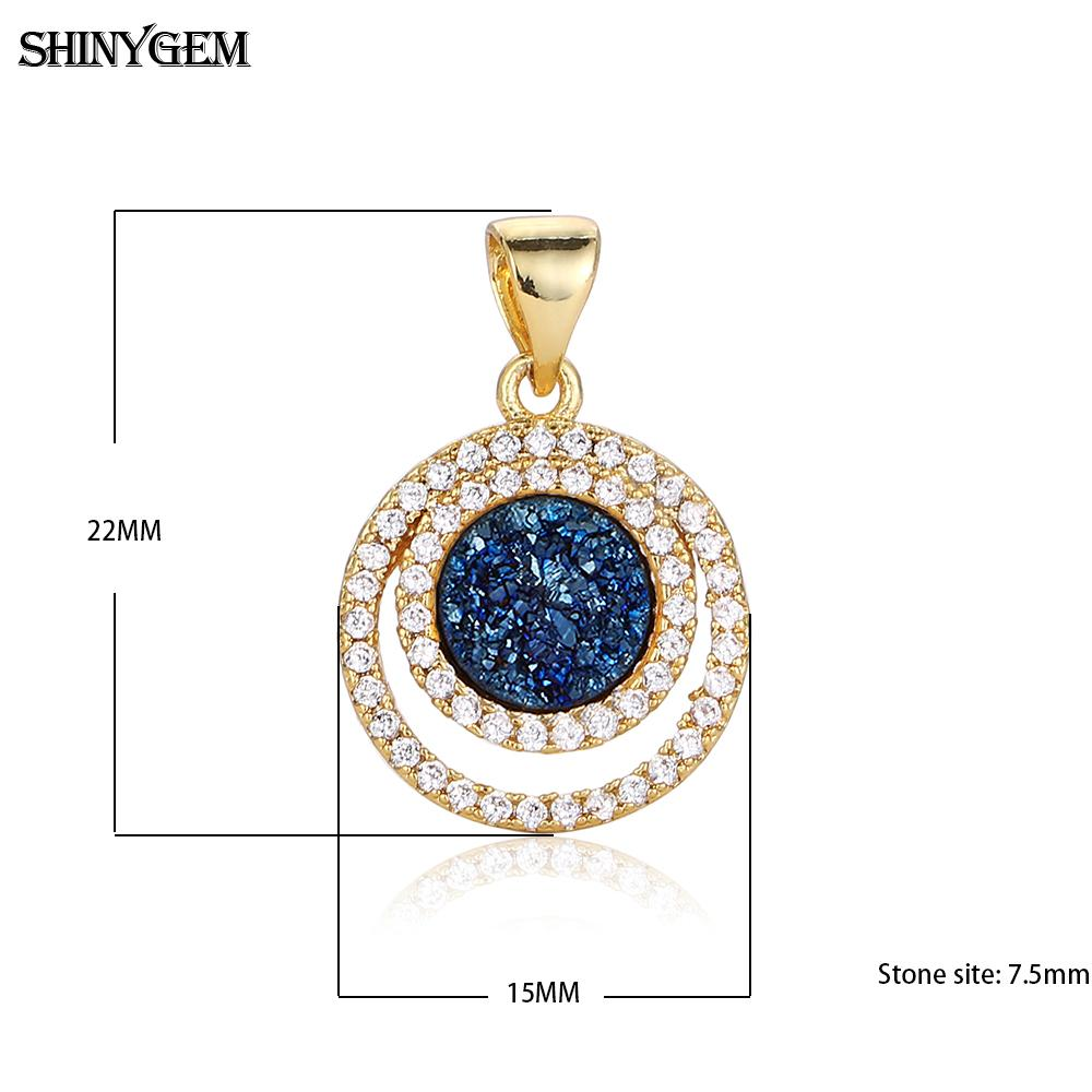 Wholesale mirco pave shiny cz copper accessories hollow natural druzy pendant charm jewellery for necklace making