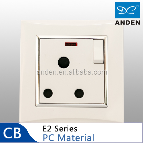 PC Material White Color Electric 15amp Switched Socket With Neon