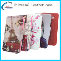 New style double face flip universal leather case for mobile phone,wholesale double face window universal leather case