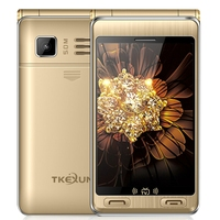 TKEXUN G10 Plus Flip Phone, Dual Screen MTK6253, Support TV 7500mAh Battery droppshipping mobile phones (Gold)
