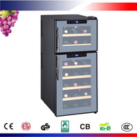 21 Bottles Thermoelectric Dual Zone Home Wine Cooler/Mirror Glass Wine Cellar with ETL,CE,ROHS approval / CW-59FDT