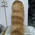 in stock 24 inch top quality honey blonde color #27/613 long hair lace front wig , beautiful women hair front lace wig for sale