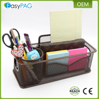 EasyPAG power coated brown metal wire mesh office accessories desk set organizer