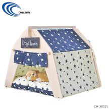 Wooden soft plush luxury pet house for small dog