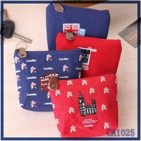 wholesale high quality latest design ladies wallet Britain bus print flax material mini coin purse