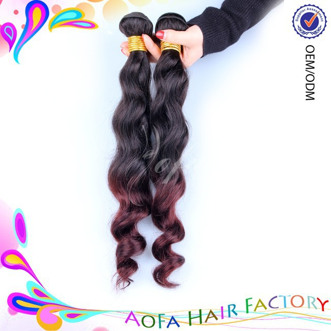 Accept paypal 12'' to 36'' ombre body wave brazilian hair weave made in china