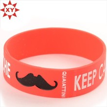 Red Moustach Silicone Wristband Rubber Bracelets for Teens Men Women