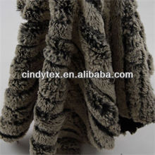 10mm 2-tone dark grey embossed cutted soft 100% polyester dobby faux fur fabric