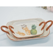 Unique Set of 2 Ceramic fruit tray <strong>Plate</strong> with double handle for home hotel