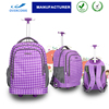 Teens school trolley bags bagpack with wheels back pack trolley