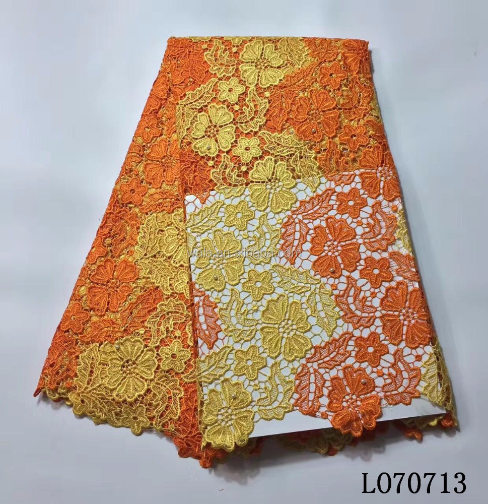 LO70713 Latest design African style cord lace cotton embroidery guipure lace