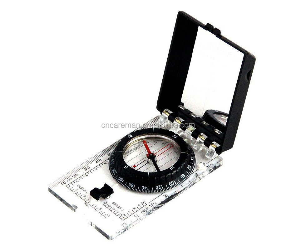 Folding Acrylic Baseplate Map Scale Compass with Mirror, Foldable Measure Ruler Mirrored Compass w/ Lanyard OEM Orders Accepted