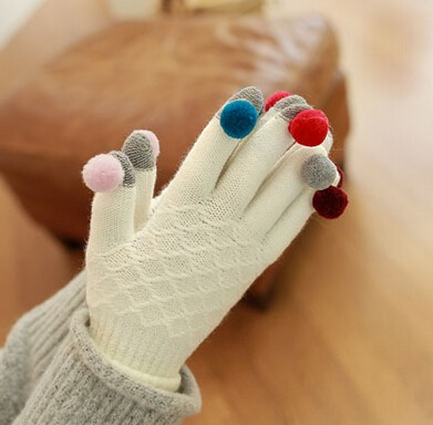 knit with colorful boll screen touch gloves for mobile phone