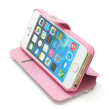 pink Color Pearl leather wallet Case For Iphone 5 5s
