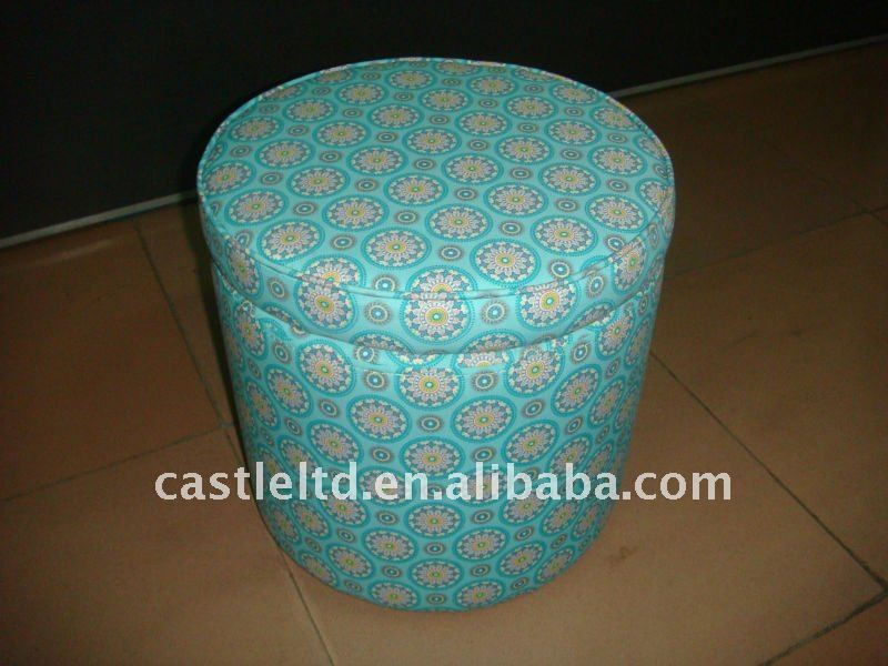 Wooden frame Print Fabric covered colorful Storage ottoman,wooden round foot stool,modern and beautiful living room ottoman