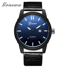 Gonewa Brand Fashion Clock Class Black Leaether Business Wristwatch Quartz-Watches Men Luxury Sport Casual China Watch Factory