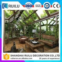 New Style Double Tempered Glass Aluminum villa sunroom and winter garden