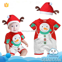 Custom children's boutique clothing christmas deer bedding outfit korean summer children boy clothing sets wth hat