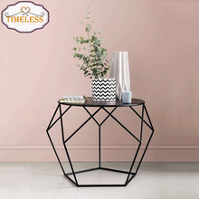 Hot sale decorative glass top wire frame small table for magazine flower