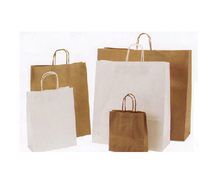 Wholesale Recyclable Kraft Paper Grocery Brown Handles Kraft Bags with Logo Printing