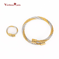 Gold & Silver Cuff Stainless Steel Bracelet and Ring Vners