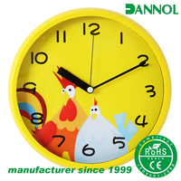 12 inch plastic three hands analog wall clock fancy design for children
