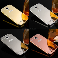 Mirror Aluminum Phone Case For Samsung Galaxy S4 Anti-knock Luxury Metal Frame Ultra Slim Acrylic Back Cover For Samsung I9500