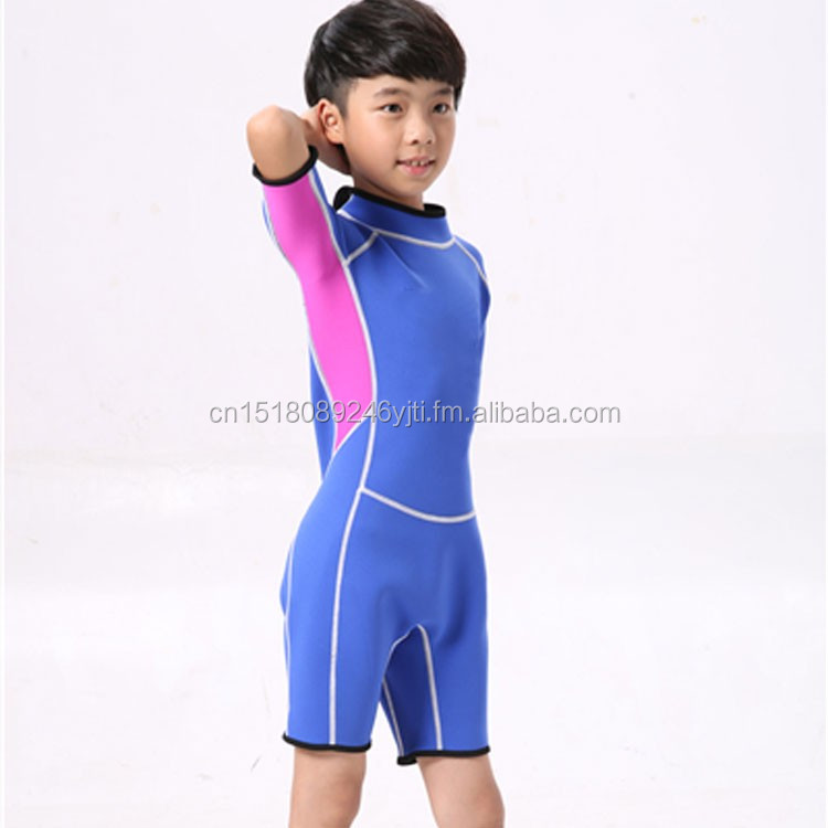 kids wetsuits short leg scuba dive swimming suit pink blue (2).jpg