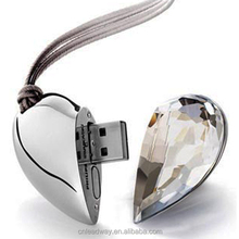 crystal heart usb flash drive for girls and girl friend