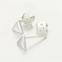 925 Silver Plain Stud Earrings Heart Earrings Stock Jewelry Fe310