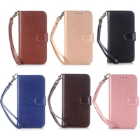 For iphone 7 Leather Case Vintage Classic Crazy Horse PU Leather Wallet Case Cover with Stand Hand Strap