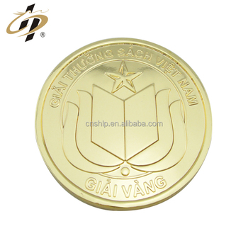 Wholesale custom metal blank gold plating school souvenir coin