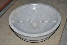 Round White Granite Polished Sink