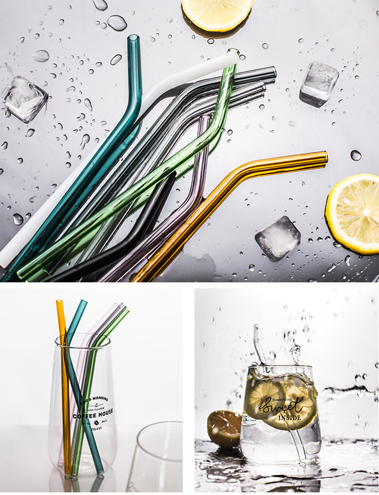 Colorful Environmental 8*200mm High borosilicate glass straws
