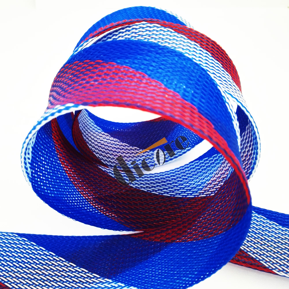 Colorful pet expandable braided sleeve techflex f6 for cable protect