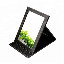 multi-sized brown pu leather frame folding table stand fancy makeup mirror