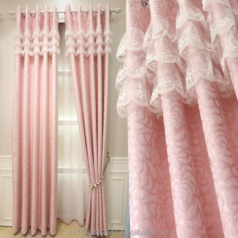Chenille jacquard girl room curtain finished custom pink curtain