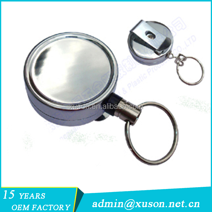 Metal retractable key chains with big belt clip
