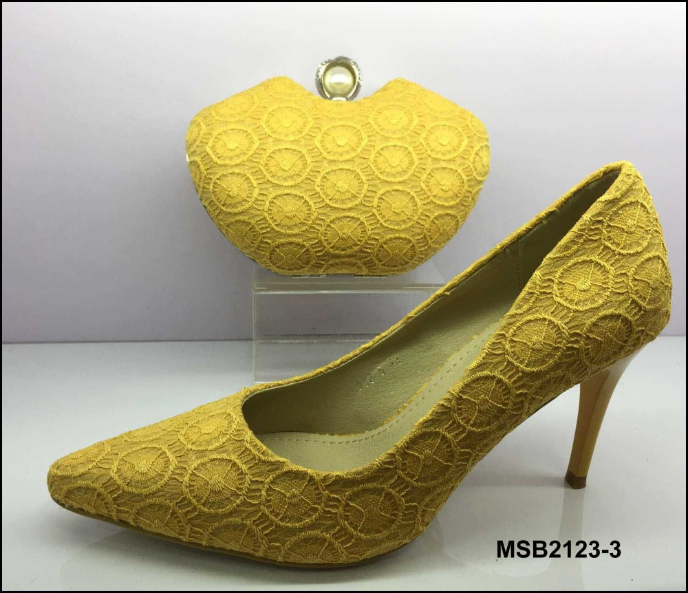 MSB2123-3 Attractive price yellow women Italy high <strong>heels</strong> with purse 2017 lace material shoes with bag sets