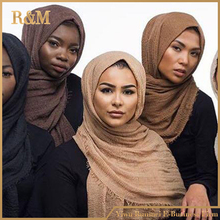 Fashion solid color crinkle muslim hijab scarf