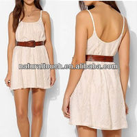 Fashion girls lace short dress scoop out back without tank dress with belt (NTF05010)