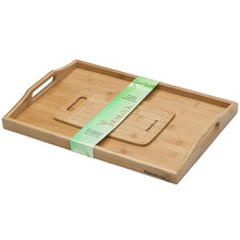100% Premium Bamboo Wood Serving Tray With Handles - No MDF - Includes Free Bonus Cutting Board