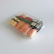 Plastic Hinge Container/clear plastic take a way sushi box