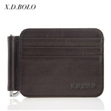 Genuine Leather Thin Minimalist Bifold Credit Card Holder RFID Slim Wallets for Men Money Clip