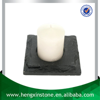 Cheap Factory Direct Price Handmade 10x10cm Mushroom Edge Black Square Slate Candle Holder Stone Candle Holder With Eva Feet
