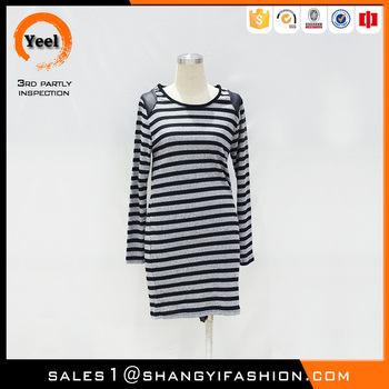 YEEL New Arrival grace jaquard soft zebra-stripe sweater dress